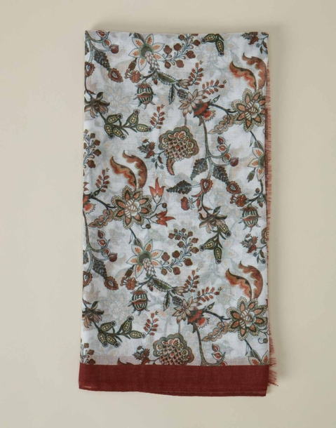 burgundy floral scarf