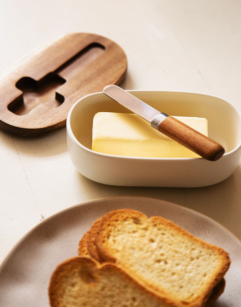 mantequillero madera con cuchillo
