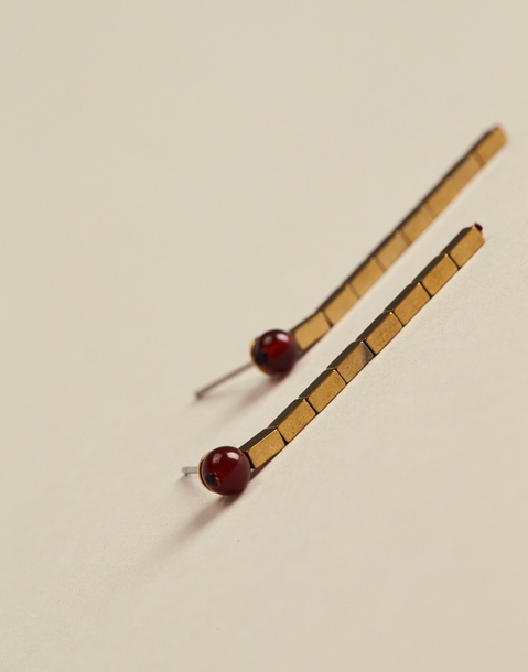 Ball earrings with gold rectangular beads