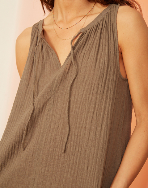 rustic sleeveless top