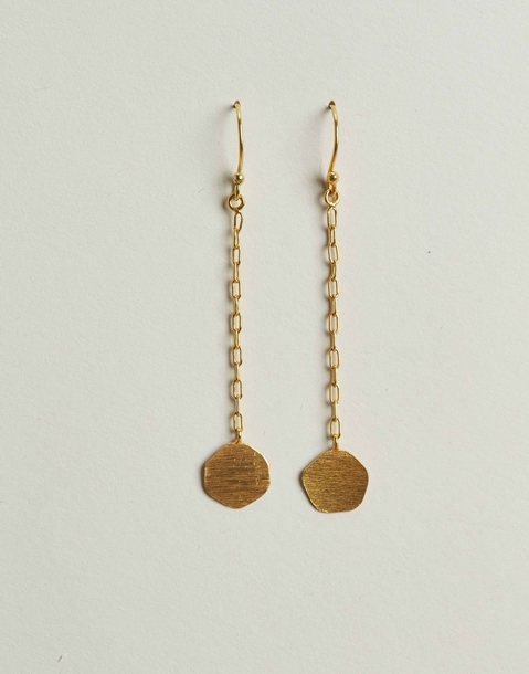 gilded medal long earring