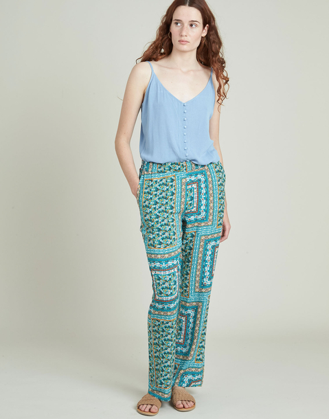 long wide patchwork printed pants