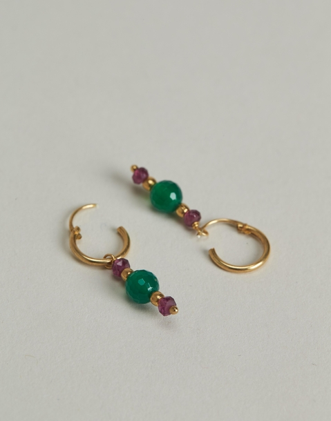 gilded three stones hoop earrings