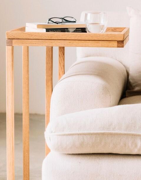 oak wood side table 45*35*70