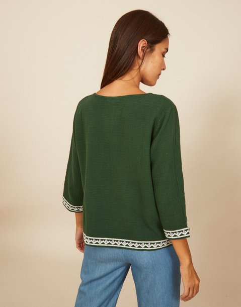 geometric embroidery blouse