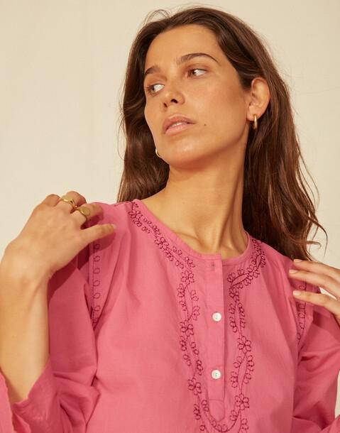 túnica manga larga bordado indio