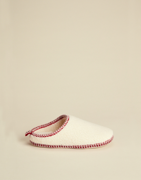 fleece slippers with contrast stitching