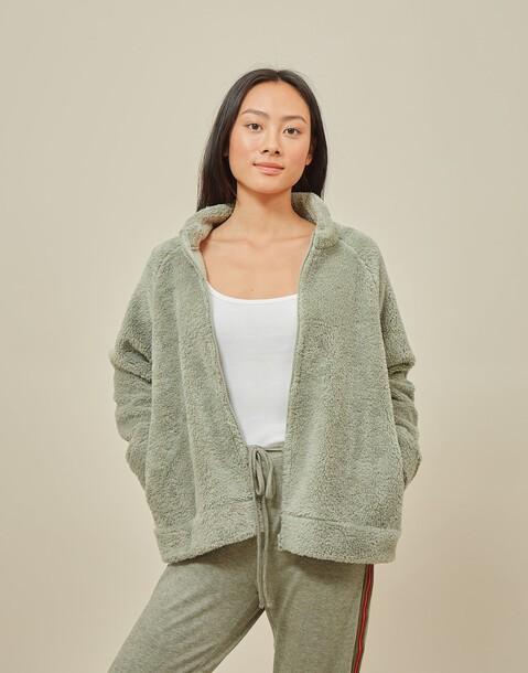 chaqueta mujer cuello alto fluffy