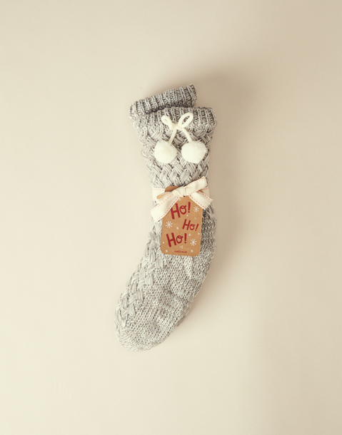 pompoms knitted slipper socks