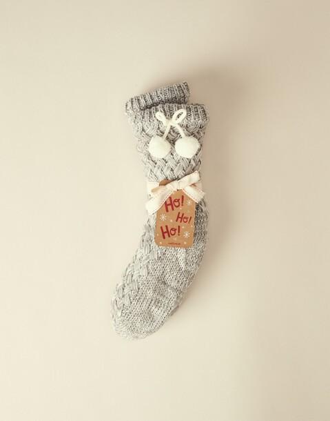 calcetín tricot pompones