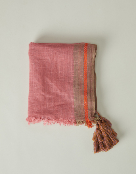 pompom embroidered foulard