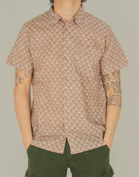 men indian stamp cotton shirt