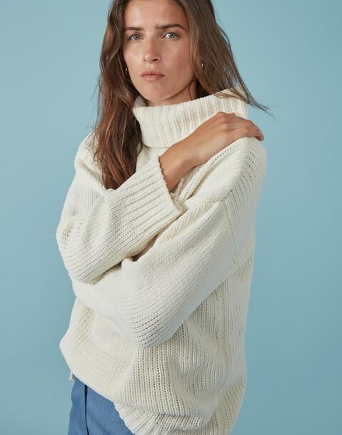 maglione tricot ciniglia a collo alto