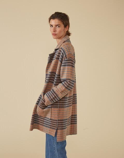 thin checkered coat