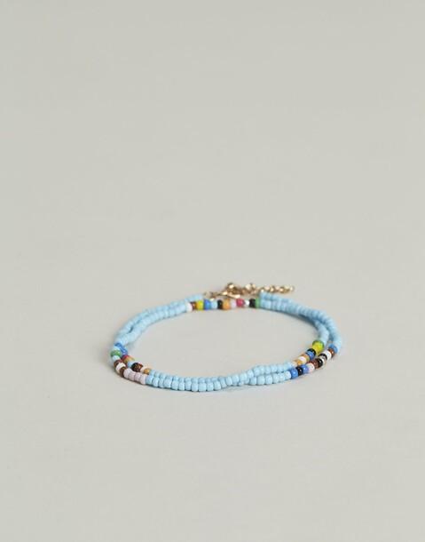 bracelet de cheville deux rangs perles
