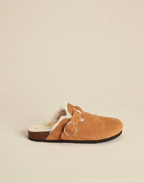 fur leather clog