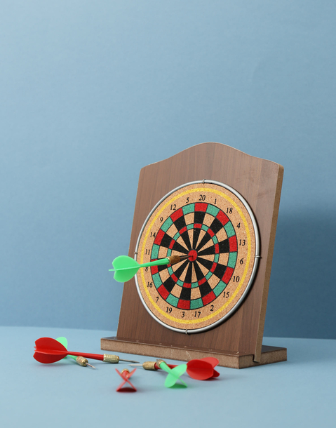 wooden dart board