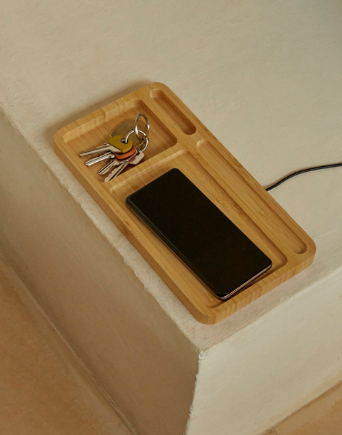 storage tray with wireless charger