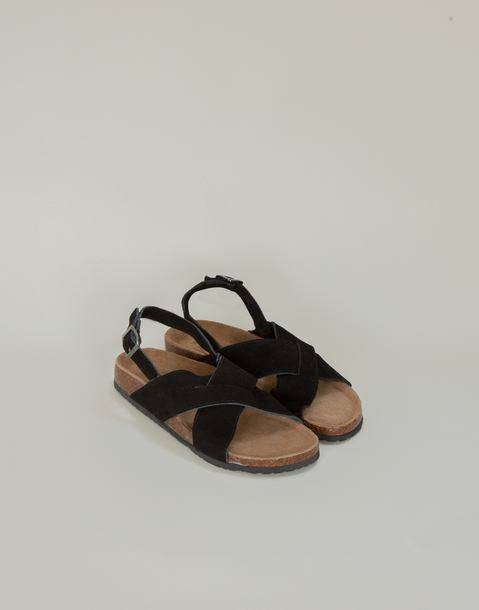 crossed ergonomic leather sandal