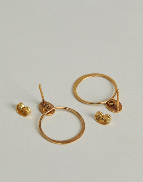 gold plated circles earrings