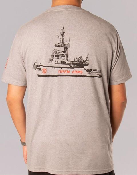 camiseta gris open arms