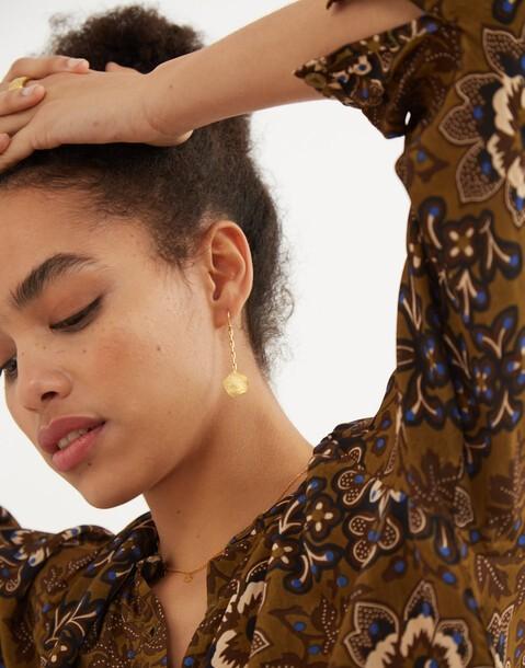 boucles d'oreilles médaillon pendantes dorées