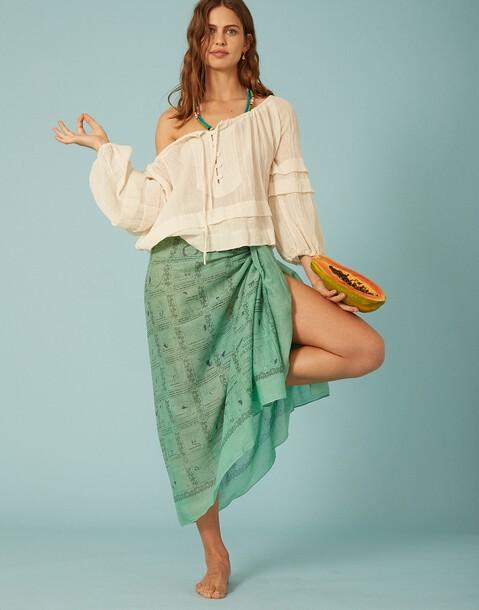 blouse froncée manches volumineuses