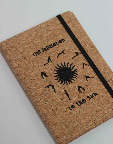 sun salutation cork notebook