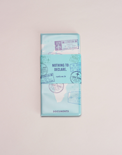 world stamped travel documents holder