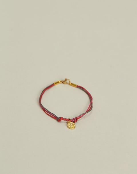bracelet fil multicolore médaille
