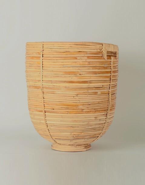 small rattan basket with handle