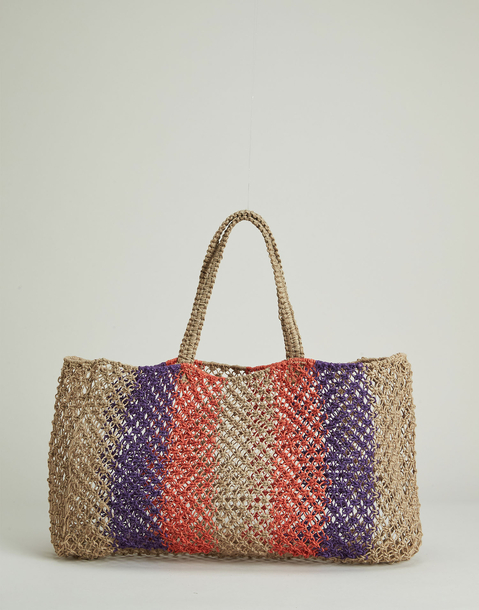 multicolor striped jute bag