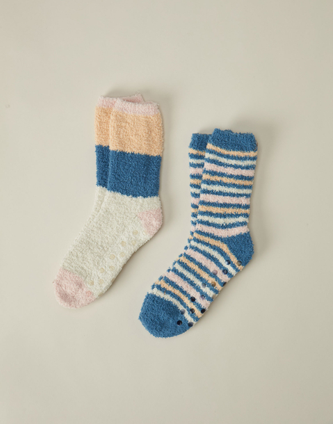 striped fleece socks set of 2