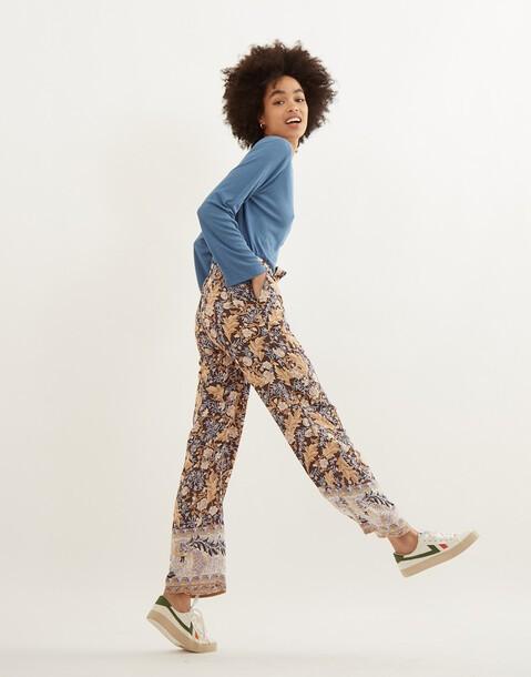 pantaloni larghi stampa foglie