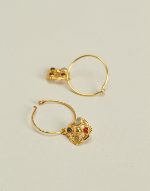 gold plated stones hoop earring