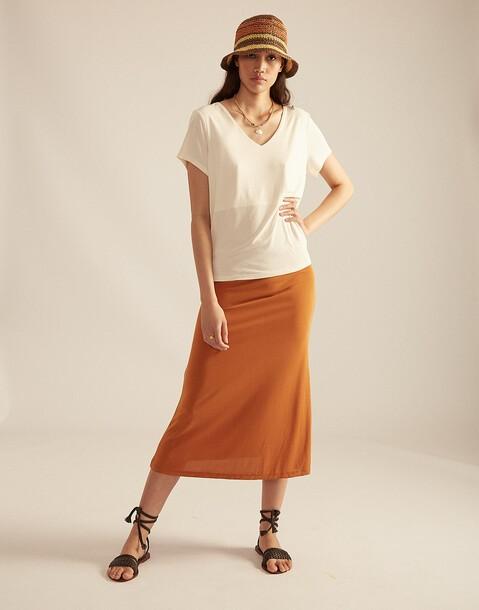 elastic midi skirt