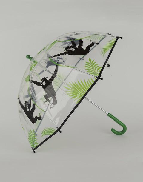 transparenter regenschirm mit affen