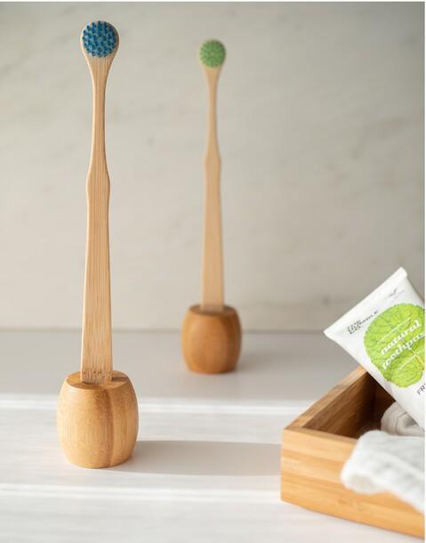 soporte cepillo dientes bambú