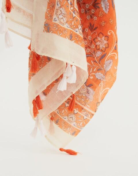 floral pompoms scarf