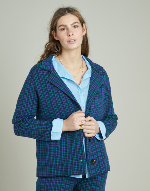 tricot plaid blazer