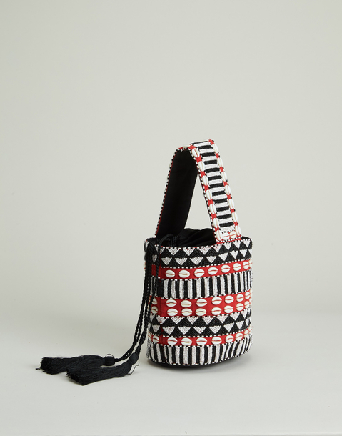 bucket bag with shells and beads