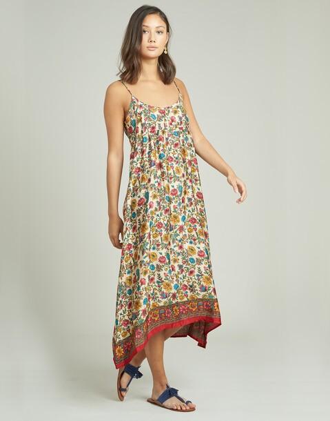vestido tirante fino seda