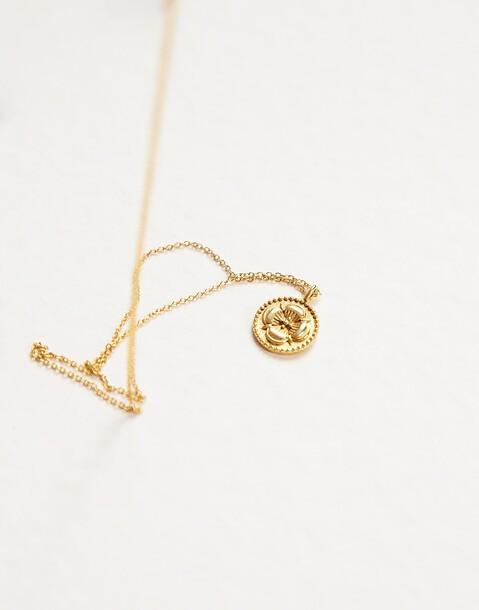 collier médaille fleur indienne dorées