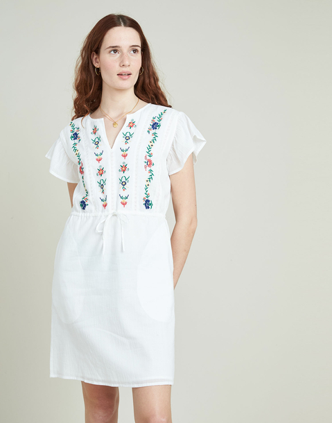 embroidered ruffles dress