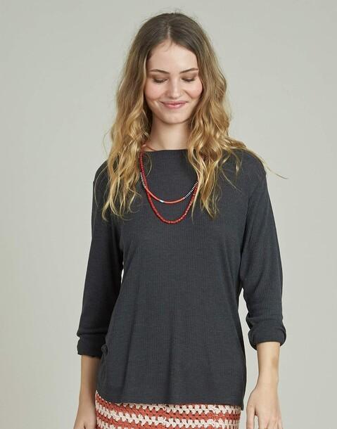 camiseta canalé cuello redondo