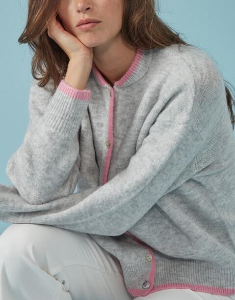 knit cardigan with contrast trim