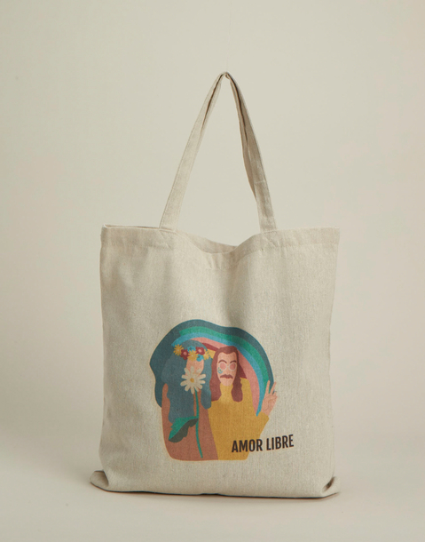 linen tote bag with message