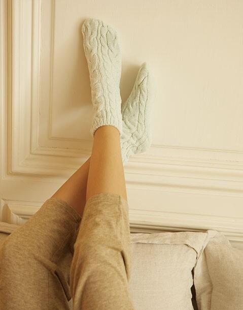 braid chenille socks 2-pack