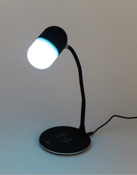 lampara, altavoz y cargador wireless