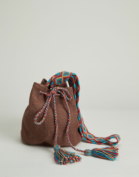 multicolor handle jute bucket bag